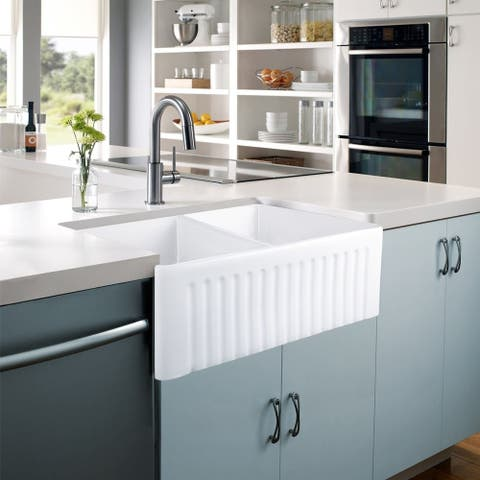 CB HOME Luxury Fireclay Ceramic Farmhouse Double Bowl Kitchen Sink Set