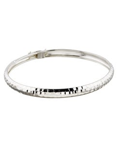 Mondevio Sterling Silver Hammered Design Bangle