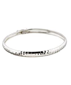 Mondevio Sterling Silver Hammered Design Bangle