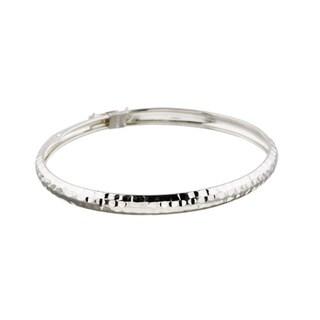 Link to Mondevio Sterling Silver Hammered Design Bangle Similar Items in Bracelets