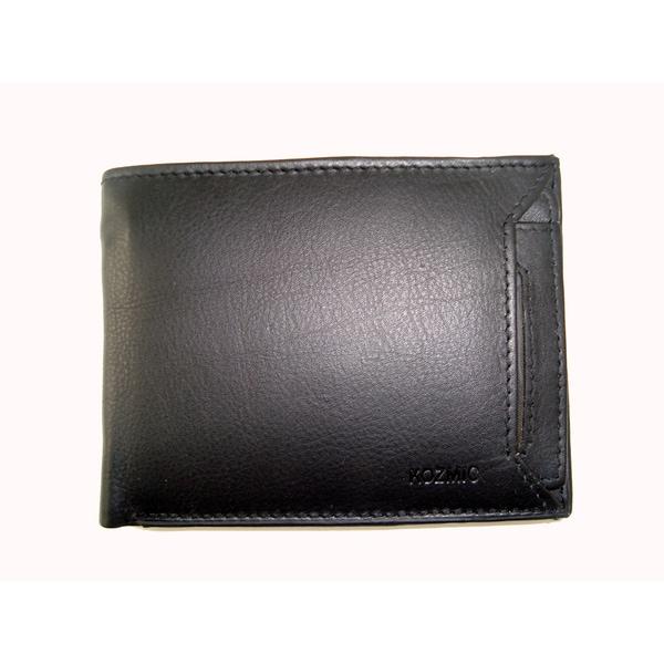 Kozmic Brand Men's Black Leather Bi-fold Wallet
