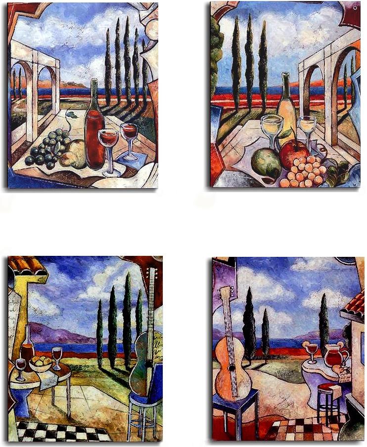J. Milan 'Tuscan Patio' 4-piece Stretched Canvas Set - Thumbnail 1