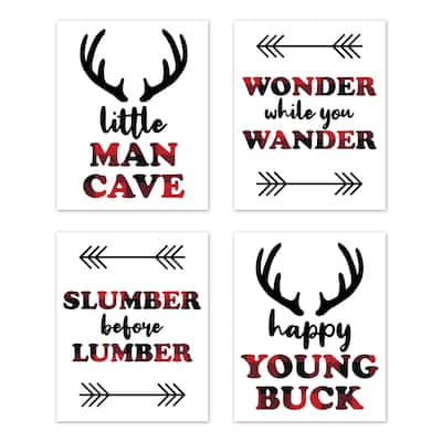 Sweet Jojo Designs Woodland Buffalo Plaid Wall Decor Art Prints (Set of 4) - Red and Black Rustic Country Deer Lumberjack Arrow