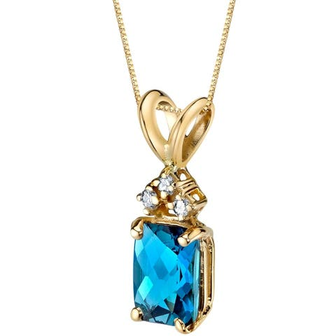 """1 ct Radiant Cut London Blue Topaz and Diamond Pendant in 14K Yellow Gold, 18"""""""