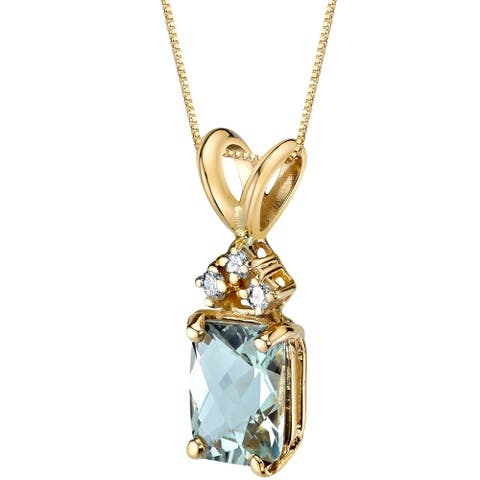 """0.75 ct Radiant Cut Green Amethyst and Diamond Pendant in 14K Yellow Gold, 18"""""""