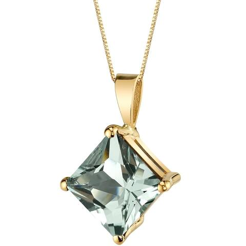 "2.25 ct Princess Cut Green Amethyst Pendant in 14K Yellow Gold, 18"""