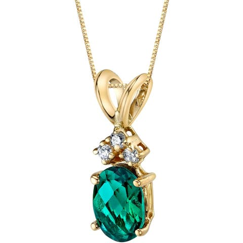 """0.75 ct Oval Shape Created Emerald and Diamond Pendant in 14K Yellow Gold, 18"""""""