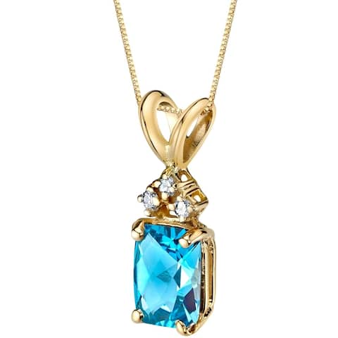 """1.25 ct Radiant Cut Swiss Blue Topaz and Diamond Pendant in 14K Yellow Gold, 18"""""""