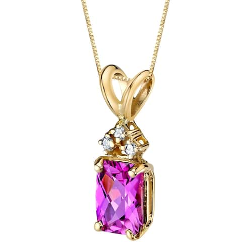 """1.25 ct Radiant Cut Created Pink Sapphire and Diamond Pendant in 14K Yellow Gold, 18"""""""