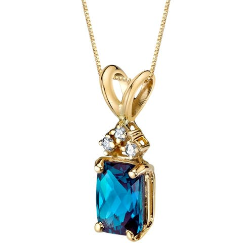 """1.25 ct Radiant Cut Created Alexandrite and Diamond Pendant in 14K Yellow Gold, 18"""""""