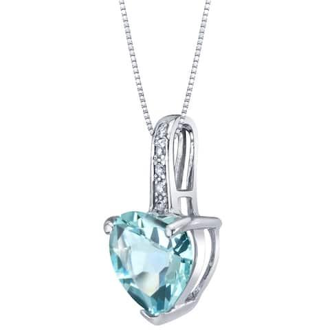 "1.5 ct Heart Shape Aquamarine and Diamond Pendant in 14K White Gold, 18"""