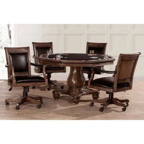 Copper Grove Carolina 5-piece Weathered Walnut Game Table with 4 Caster Chairs