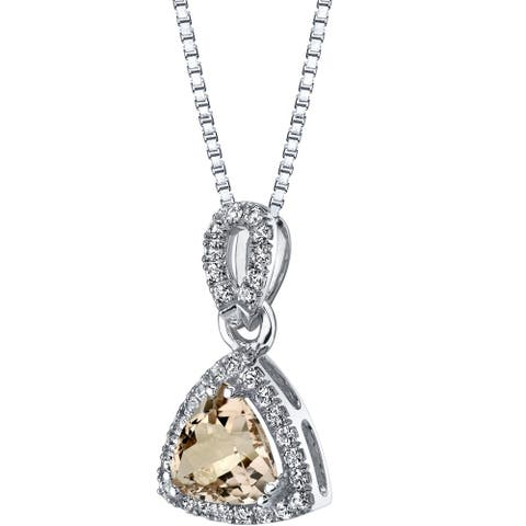 2.75 ct Trillion Cut Morganite and White Topaz Pendant in 14K White Gold, 18""