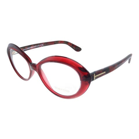 Tom Ford FT 5251 071 53mm Womens Transparent Burgundy Frame Eyeglasses 53mm