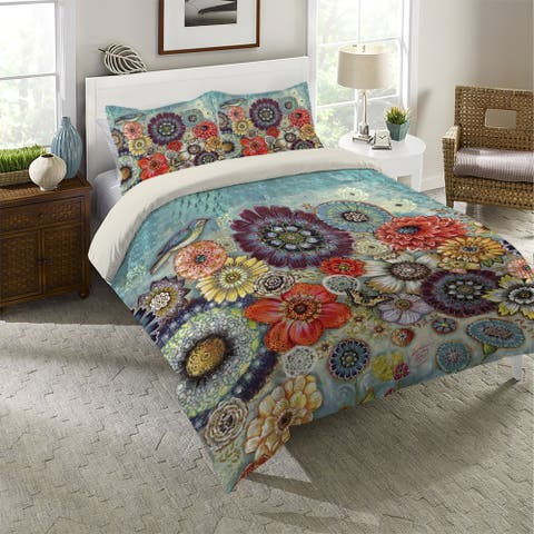Blue Bird Boho Queen Comforter