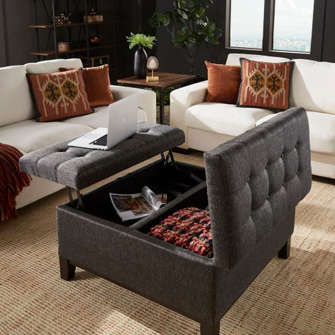 Denton Dark Grey Fabric Lift-Top Storage Ottoman with 2 Trays by iNSPIRE Q Classic