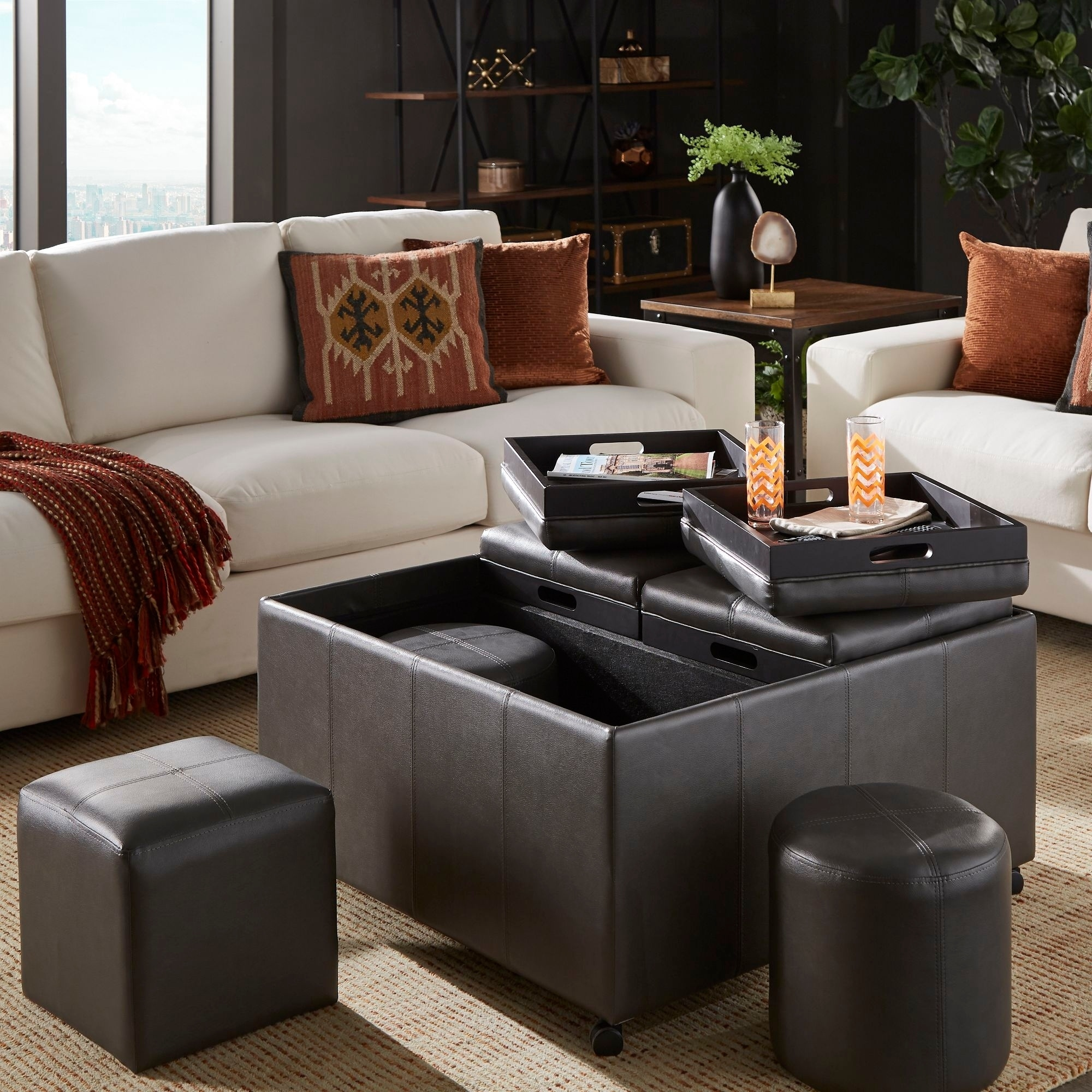 - Shop Huxley Grey Faux Leather Ottoman With 2 Square And Round