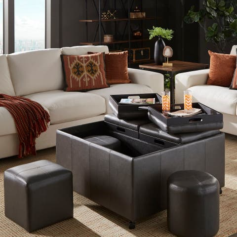 Huxley Grey Faux Leather Ottoman with 2 Square and Round Cubes by iNSPIRE Q Classic