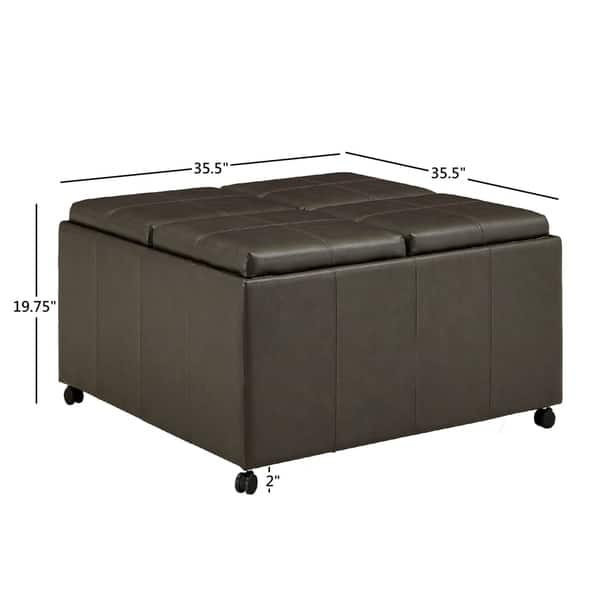 Shop Huxley Grey Faux Leather Ottoman With 2 Square And Round Cubes By Inspire Q Classic On Sale Overstock 30481760