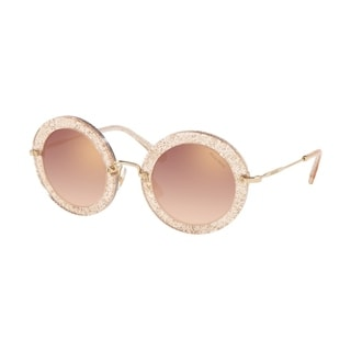 Miu Miu MU 13NS 155AD2 49 Glitter Gold Woman Round Sunglasses