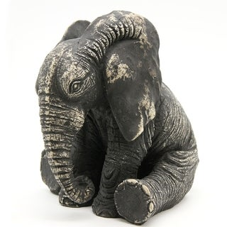 The Curated Nomad Distressed Grey Sitting Elephant Statuette Sculpture