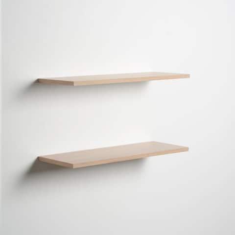 Porch & Den Hilton Head Light Oak Slim Floating Shelves (Set of 2)