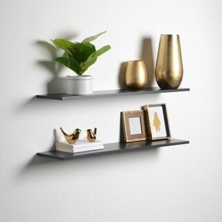 Porch & Den Hilton Head Black Slim Floating Shelves (Set of 2)