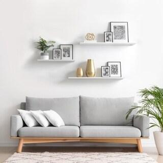 8 x 36 x .6 2 pk White Slim Floating Shelves