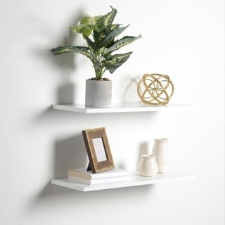Porch & Den Hilton Head White Slim Floating Shelves (Set of 2)