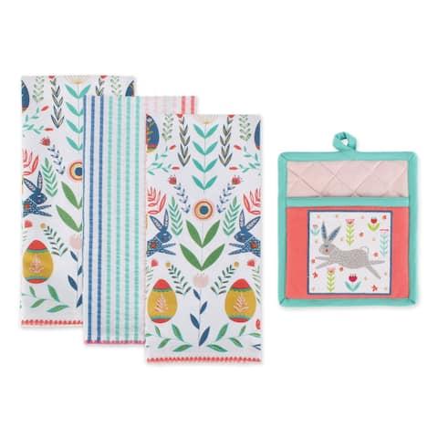 DII Easter Folk Garden Kitchen Textiles, Potholder & Dishtowel, Easter Garden, 4 Pieces
