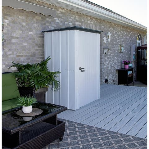 Arrow Spacemaker Patio Storage Shed with Wide Swing Door and Brushed Metal Locking Handles, 4' x 3' - Flute Grey & Anthracite