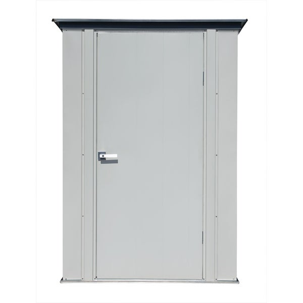 Arrow Spacemaker Patio Storage Shed with Wide Swing Door and Brushed Metal Locking Handles, 6' x 3' - Flute Grey and Anthracite. Opens flyout.
