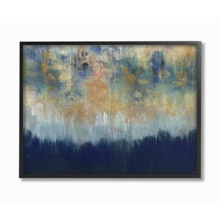 Stupell Industries Abstract Gold Blue Textured Surface Painting Framed Wall Art