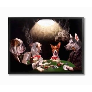 Stupell Industries Dog Poker Funny Pet Painting Framed Wall Art