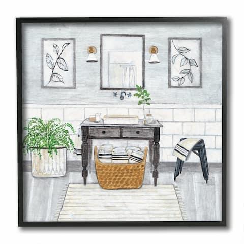 Stupell Industries Bathroom Farmhouse Style Neutral Grey Drawing, 12x12, Framed Wall Art - 12 x 12