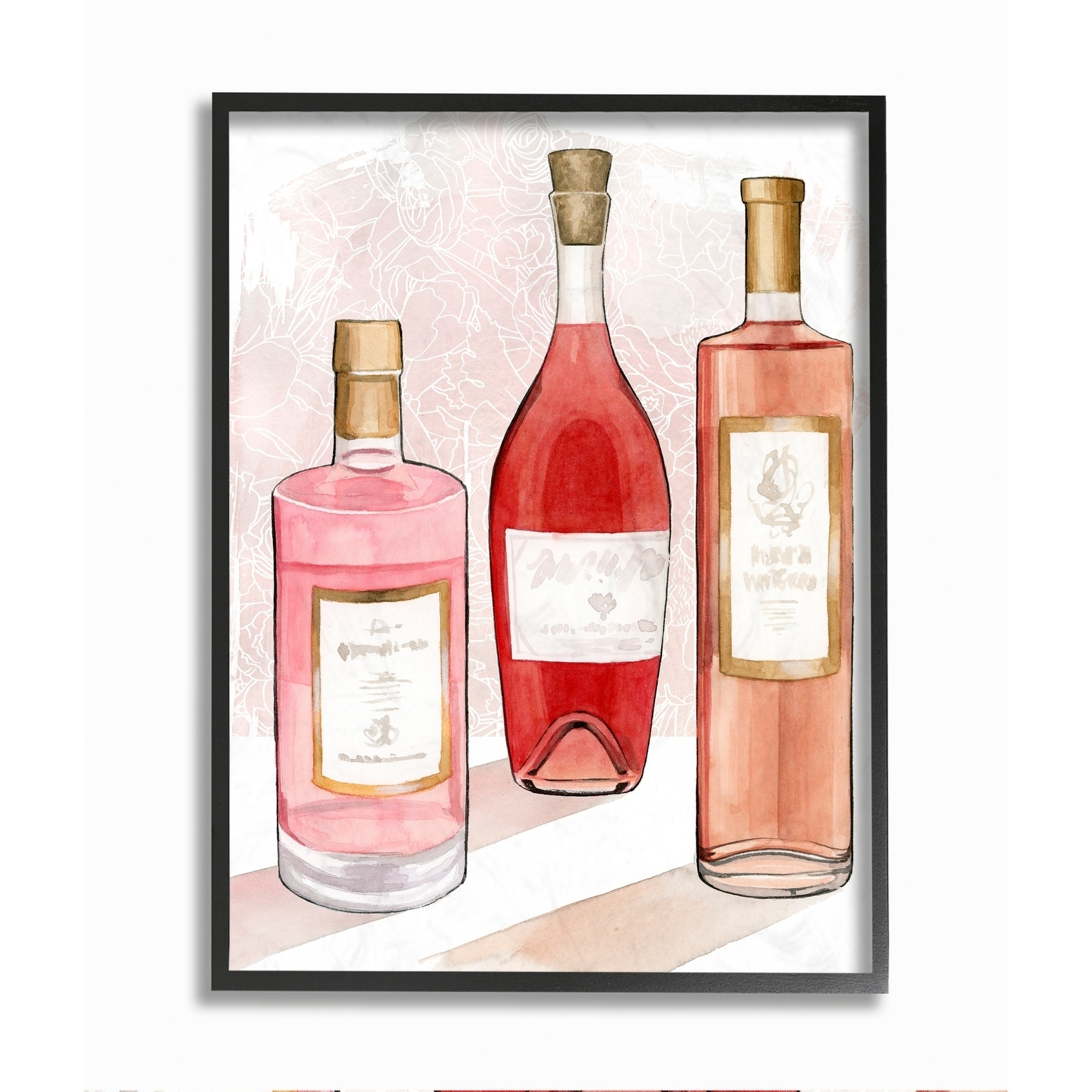 Stupell Industries Paris Drinks Red Pink Watercolor Painting Framed Wall Art Overstock 30484001