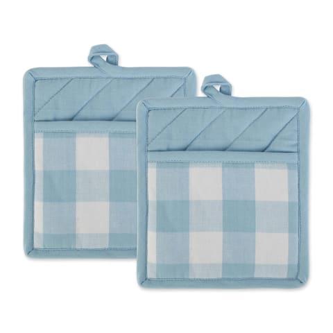 """DII Buffalo Check Ktichen Textiles, 9x8"""", White & Light Blue, 2 Pieces"""