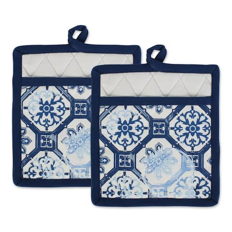 "DII Lisbon Print Kitchen Textiles, 9x8"", Lisbon Print, 2 Pieces"