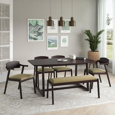 Carson Carrington Comiskey 6-piece Mid Century Modern Wood Dining Table, Armless Bench and Arm Chairs