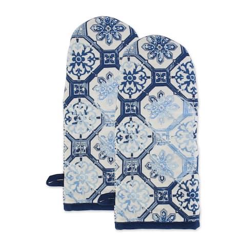 "DII Lisbon Print Kitchen Textiles, 13x6"", Lisbon Print, 2 Pieces"