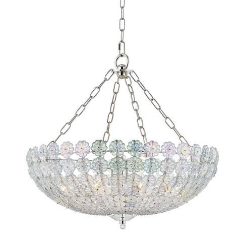 Hudson Valley Floral Park 8-light Polished Nickel Chandelier, Iridescent Glass