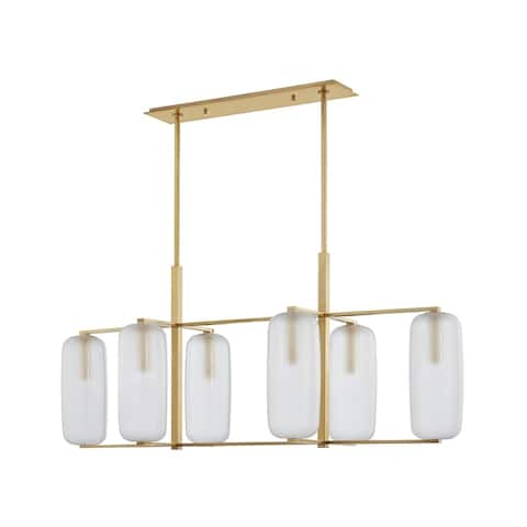 Hudson Valley Pebble 6-light Aged Brass Linear, Clear Outside and Etched Inside Glass