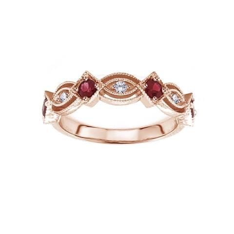 14k Rose Gold 2/5 Carat TW Round Red Ruby & Diamond Wedding Ring