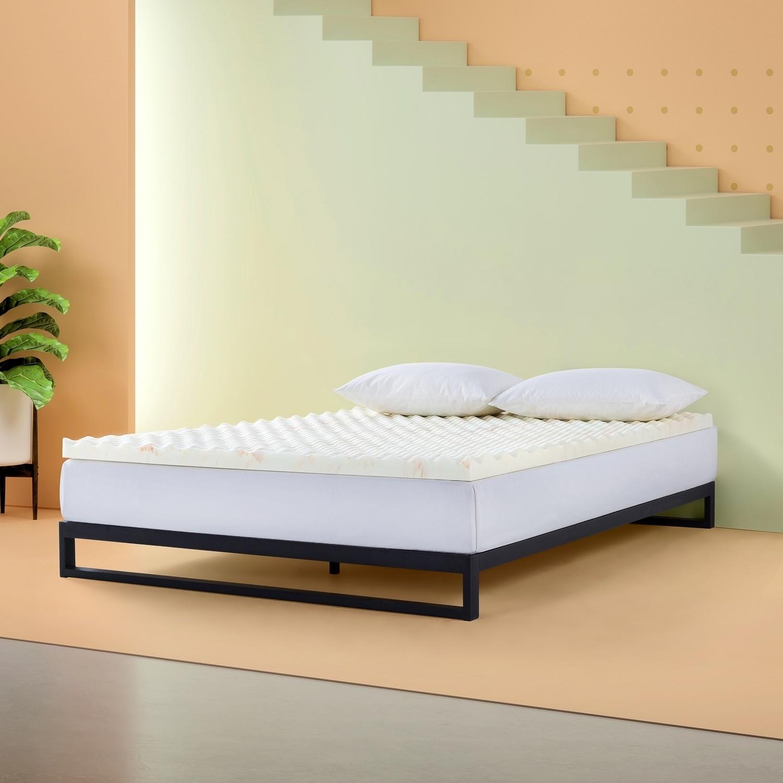 Priage By Zinus 2 Inch Swirl Copper Cooling Memory Foam Mattress Topper Overstock 30485173