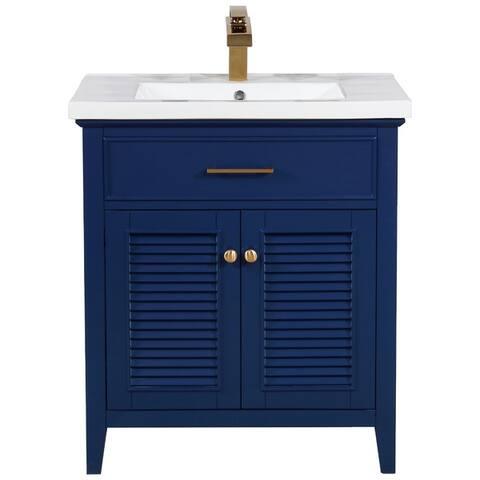 "Design Element Cameron 30"" Single Sink Vanity In Blue"