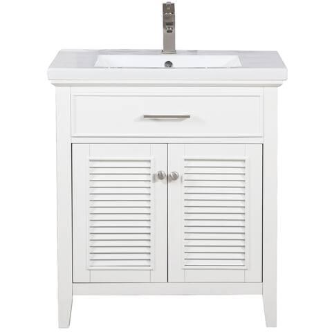 "Design Element Cameron 30"" Single Sink Vanity In White"