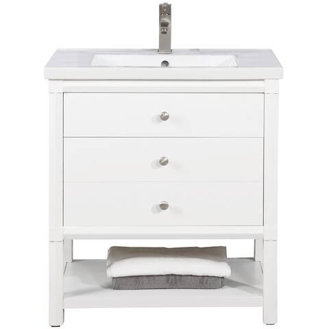 """Logan 30"""" Single Sink Vanity In White"""