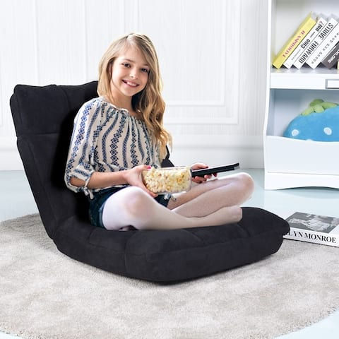 Adjustable 14-Position Floor Chair Recliner Padded Gaming Chair