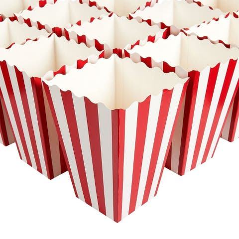 100 Popcorn Favor Boxes Paper Containers Party Supply for Movie Night Red White