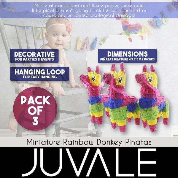 Rainbow Donkey Mini-Sized Mexican Pinata... Pack of 3 Miniature Donkey Pinatas